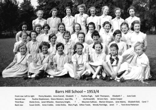 Barrs Hill School - 1953-4 - from Ann Brimfield