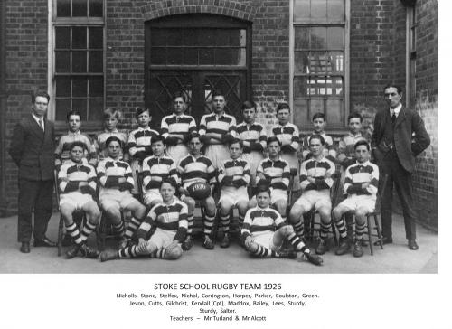 Stoke School Rugby Team 1926 - from Barry Stelfox