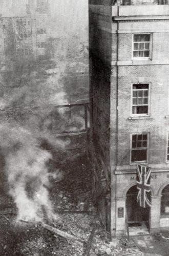 Broadgate on fire  -   Images reproduced by kind permission of Culture Coventry Trust/Coventry Archives