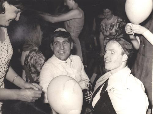 Coventry City Football Club Party - 1964 - Ladies dressing up John Smith and Ronnie Farmer. Sent from the Isle of Man by Ann Brimfield.